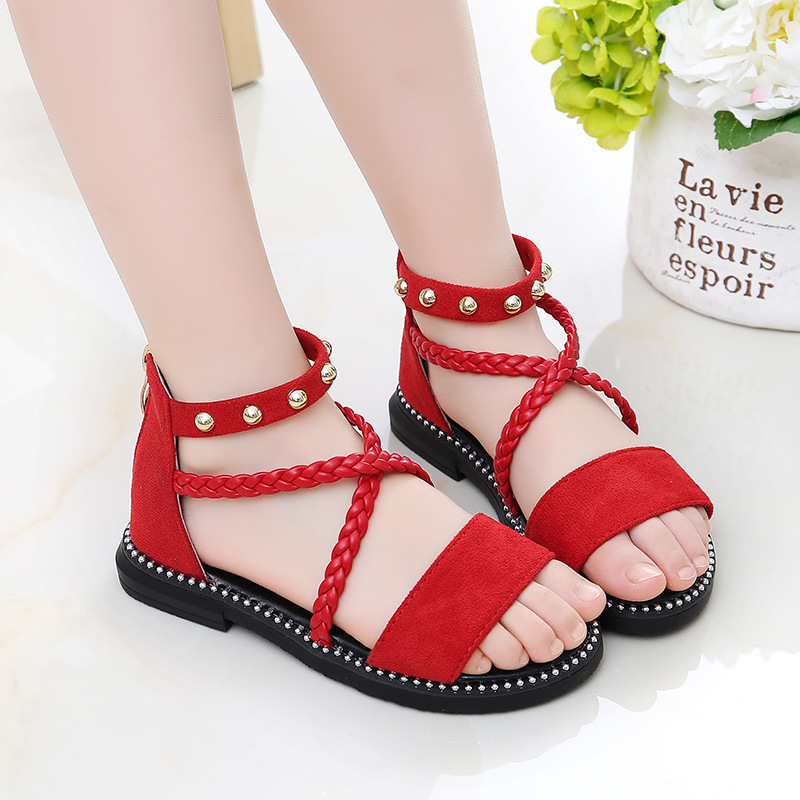 Girls Kids New Flat Heel Ankle Strap Summer Party Gladiator Sandals Shoes Size