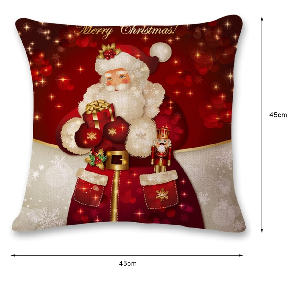Fashion Christmas Design Cotton Linen Pillow Super Soft Car Office Sofa Cushion Pillow Home Decoration with LED in Cushion from Home Garden
