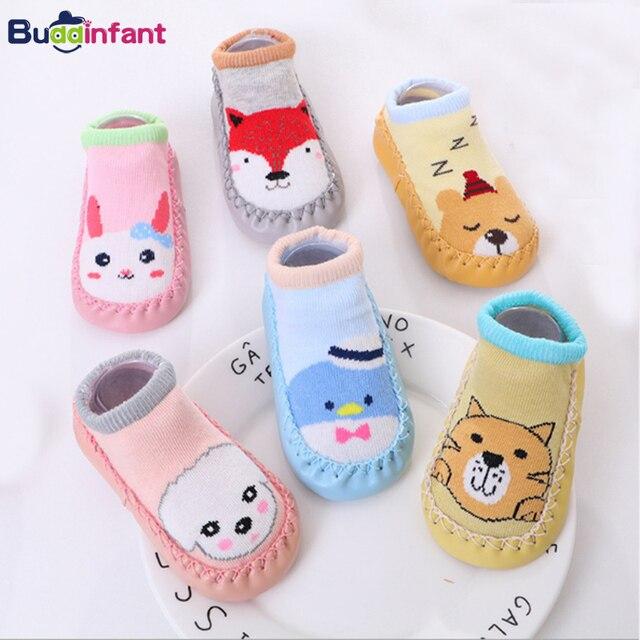 toddler baby shoe socks cotton with rubber soles bebe girls sock shoes fox infant boys floor home walker sock warm foot socks