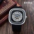 casual men watches leather Automatic Mechanical male Wristwatches skeleton waterproof man watch goer brand luxury men's clocks