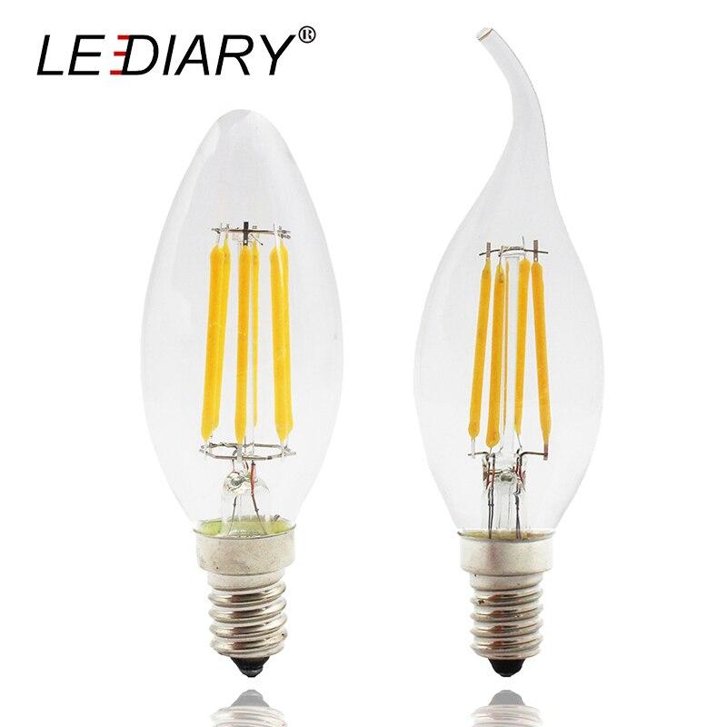 Lediary 4pcs High Lumen Dimmable C35 E14 Led Filament