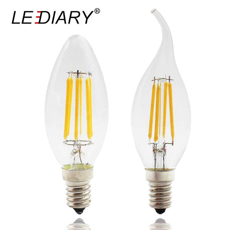 LEDIARY 5PCS High Lumen Dimmable C35 E14 LED Filament Candle Bulb Retro Edison LED E14 Clear Lamp 2W/4W/6W 220V Cold/Warm White led candle lights 2835smd candle bulb lamp high brightness 3w e27 e14 ac220v 110v cold white warm white led bulb lamp