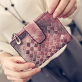 new  Leather Woven Wallet Female Short Purse Card Multi Gradient Coin Pocket Portemonaie Femme Purse Bag Plaid Wallets Leather