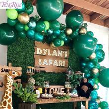 FENGRISE Dark Green Animal Balloons Palm Leaf Balloon Birthday Child Safari Party Ballons Decoration Binosaur Baloon