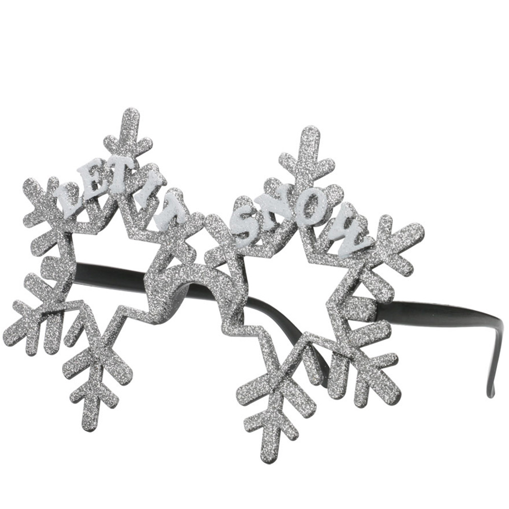 Christmas Decorations for Home Party Children Gift Supply Silver Glitter Snowflake Glasses Ornament Xmas New Year Present