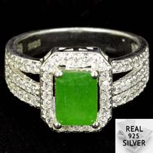 4.7g Real 925 Solid Sterling Silver Green Emerald CZ SheType Rings US 7.25#  15x10mm