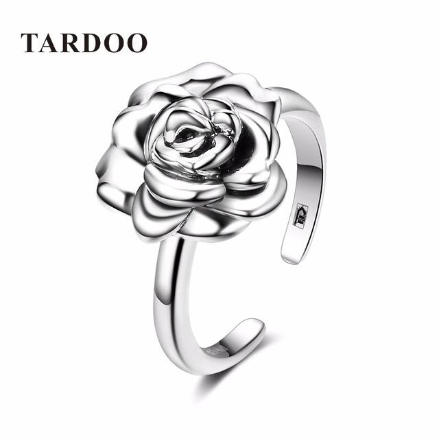 Tardoo Real 925 Plata Esterlina Anillos Abiertos Ajustables para Las Mujeres Romántico Rosa Flor Nupcial Wedding Band Anillos de Joyería Fina