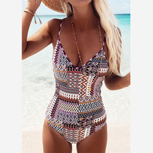 Floylyn Vintage Print Swimwear Women One Piece Swimsuit Beach Bathing Suit Backless Bodysuit Swimwear Monokini Maillot De Bain