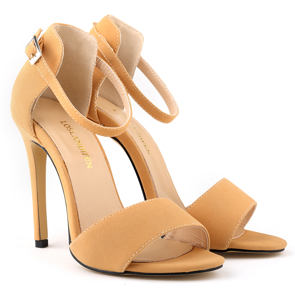 Fashion High Heels Suede Strappy Women Sandals Sexy Ladies Summer Party  Wedding Drees Bridal Shoes Plus Size Sandals Femininos fe21e79c9d47