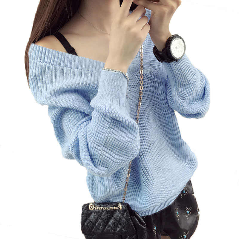Short V neck Large size sweater women pullover spring and autumn new loose Fashion wild female Christmas knitted sweaters LJ101