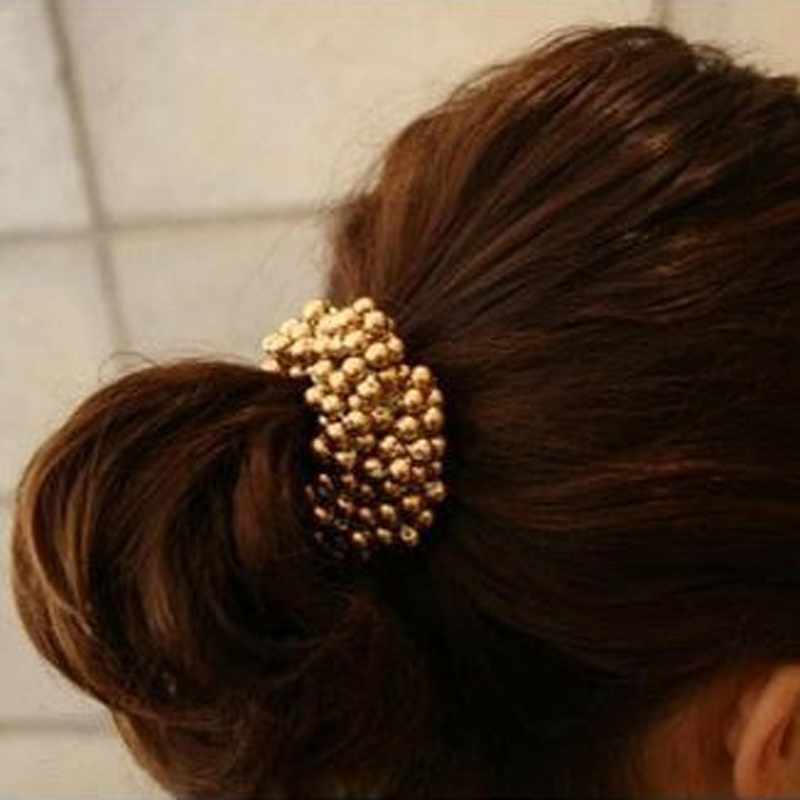 1Pcs Women Crystal Rhinestone Pearl Hair Band Rope Elastic Ponytail Holder Hair Accessories For Hair Ties Hairbands Bun Maker gorgeous faux feather elastic hair band for women