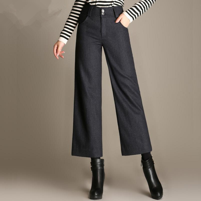 Women Wool   Pant   Female High waist Woolen Causal   Wide     Leg     Pants   Loose Straight Long Female Plus Size Trousers