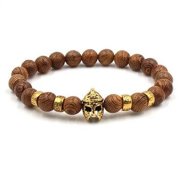 Natural stone Gold Head Bracelets Volcanic Stone Black Couple Beaded Bracelets Men Jewelry Fashion Woman Bracelets 2019 5