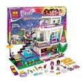 2016 Bela 619 pcs Amigos Séries Blocos de Construção Casa De Pop Star Andrea Livi mini-boneca de Brinquedo Compatível com Legoe Amigos 41135