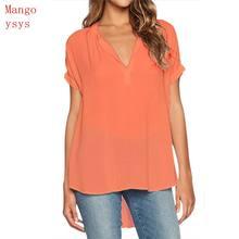 2018 Women short Sleeve Shirt v-neck Collar Loose solid Blusas Femme Autumn  Fall Casual Tops Sexy Tee Plus Size 3XL-4XL 5c67b360155e