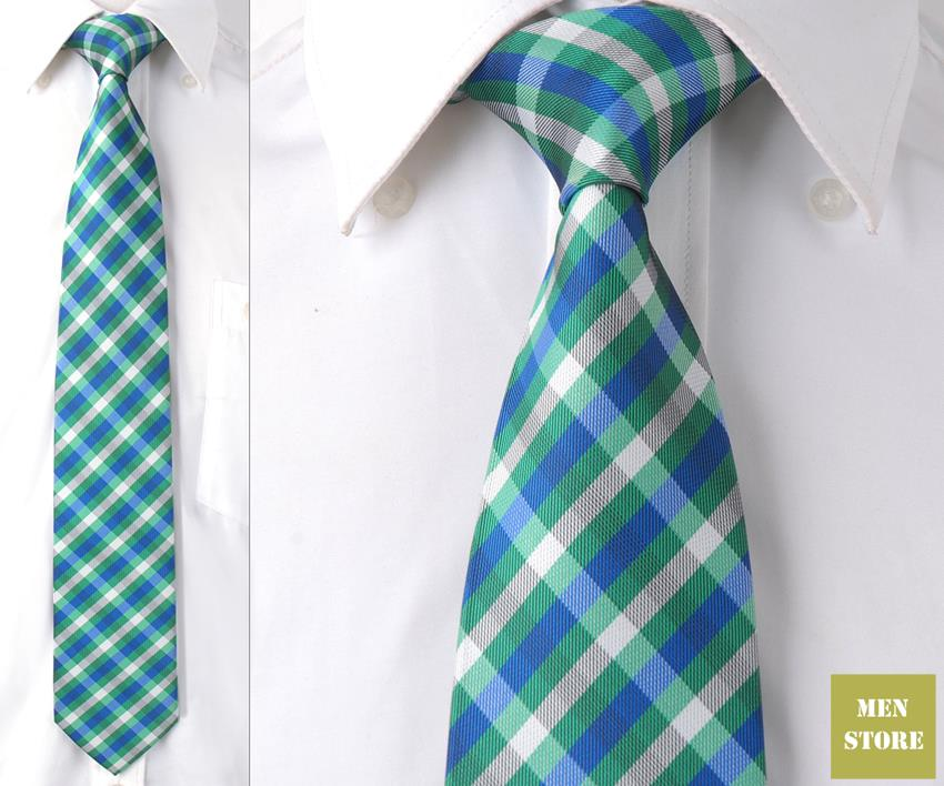 """Зеленый сине-белые плед проверки Для мужчин жаккард Шелка ручной работы """" галстук 8 см галстуки Свадебная вечеринка жениха галстук dt097"""