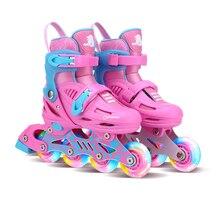 Полностью мигающие кроссовки роликовые скейты для обуви Встроенные повседневные уличные щетки катание регулируемые унисекс Patines En Linea подарок для детей IA39