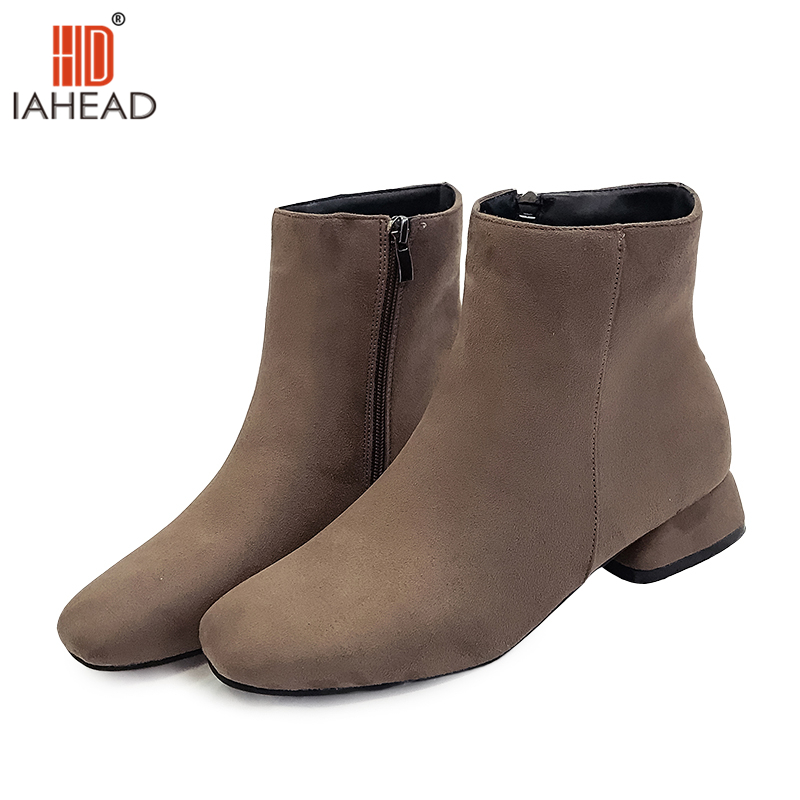 IAHEAD Brand Shoes Women Martin Boots Color Brown Black Ankle High Boots Fashion Casual Shoes Normal Size UPC333 fashion women boots low or high ankle boots tassel zipper martin boots black casual shoes hot selling shoes free shipping russia
