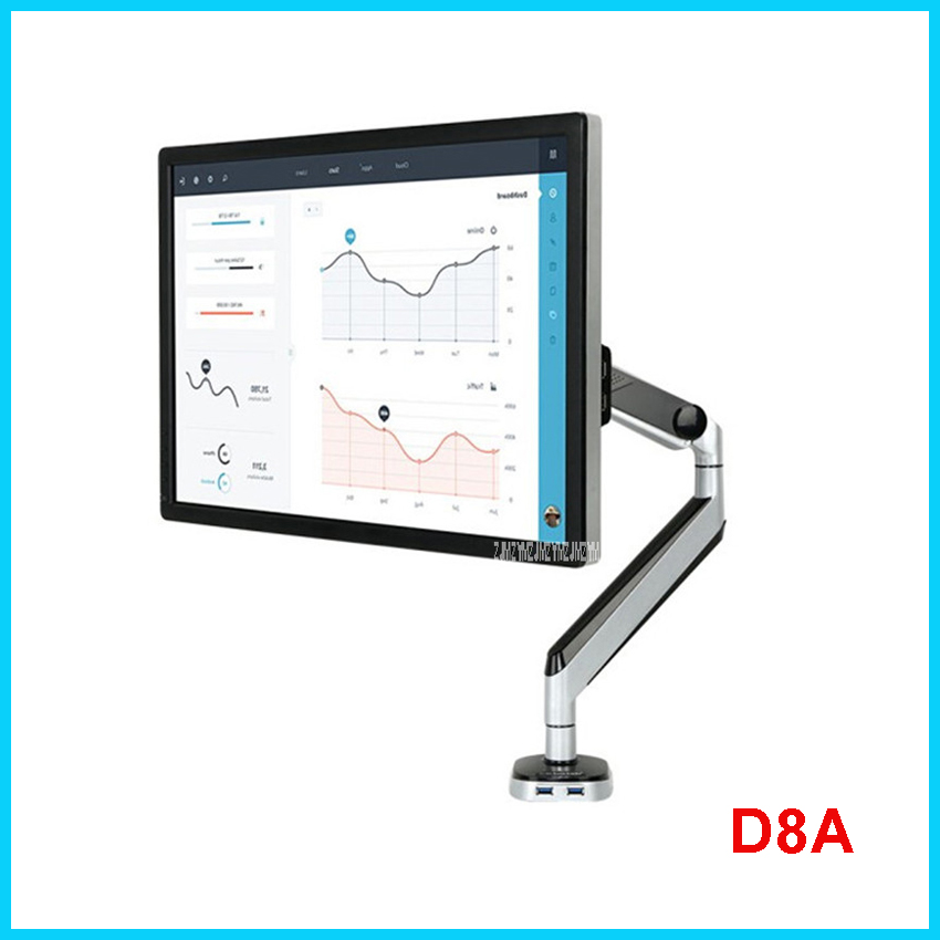 New Loctek D8A Aluminum Gas Spring Full Motion Desktop Monitor Holder LCD Computer Mount Arm Loading 2-9kgs With Two USB Port