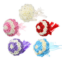 12Bridal Bouquet Foam Roses Artificial Flowers Luxury Rhinestones Wedding Decoration Handmade Silk Ribbon