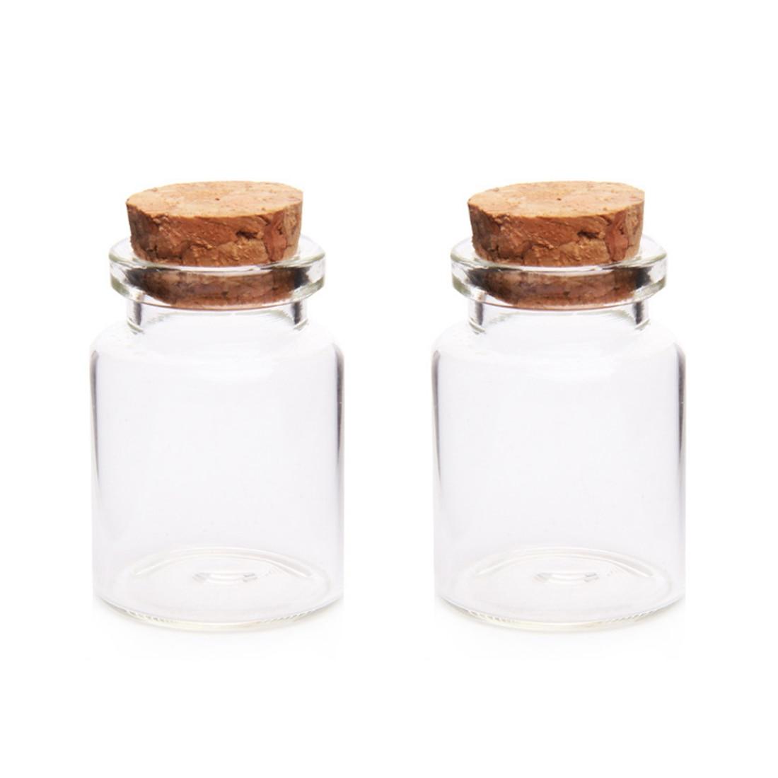 2Pcs 30*40MM 15ML Glass Bottles Wishing Bottle Empty Sample Storage Jars with Cork Stoppers - Transparent glass bottle