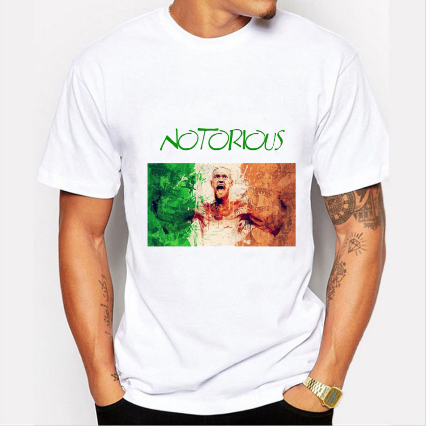New Arrival Men's Fashion MMA Design Painted Notorious Print T Shirt Summer Casual Short Sleeve O-neck Tees Men Tshirt