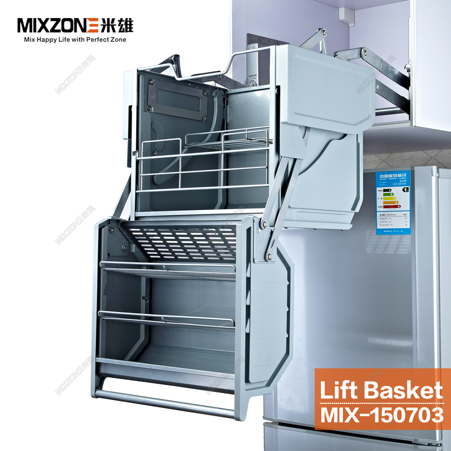 Pull Down Stainless Steel Kitchen Wall Cabinet Double Compartments ...
