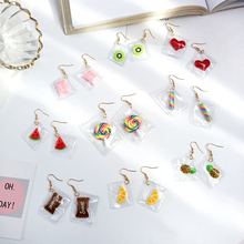 Fashion 1Pair Hot Korean Fun Candy Color earring Transparent  Heart Resign Rainbow Dangle Earrings women girls Jewelry