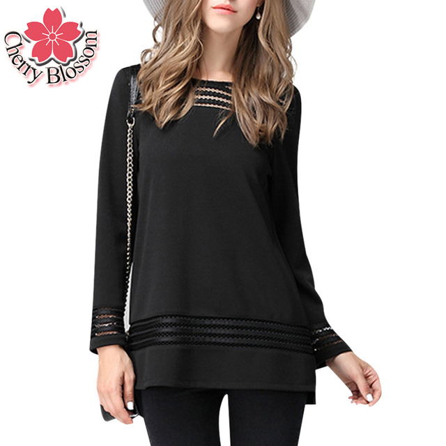 L-5XL Woman Shirts Fashion Women Blouses Mesh Hollow Out Long Sleeve O-Neck Casual Loose Shirts Plus Size Chiffon Tops