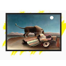 hand painted Henri Rousseau reproduction oil painting The Sleeping Gypsy copy canvas art  lion and the from master artist