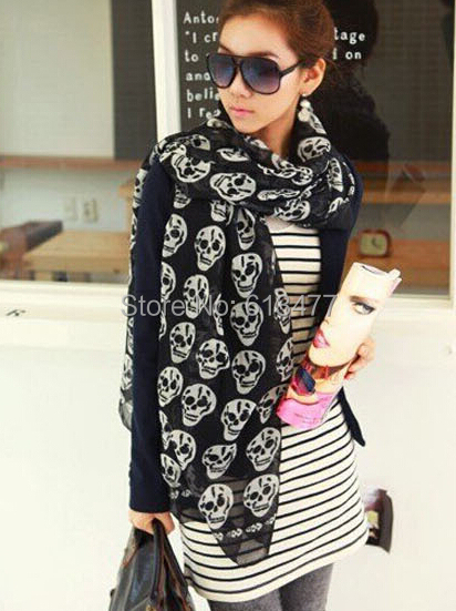 scarf chiffon shawl long scarves women The size of the female skeleton head scarf 1pcs/lot sw15