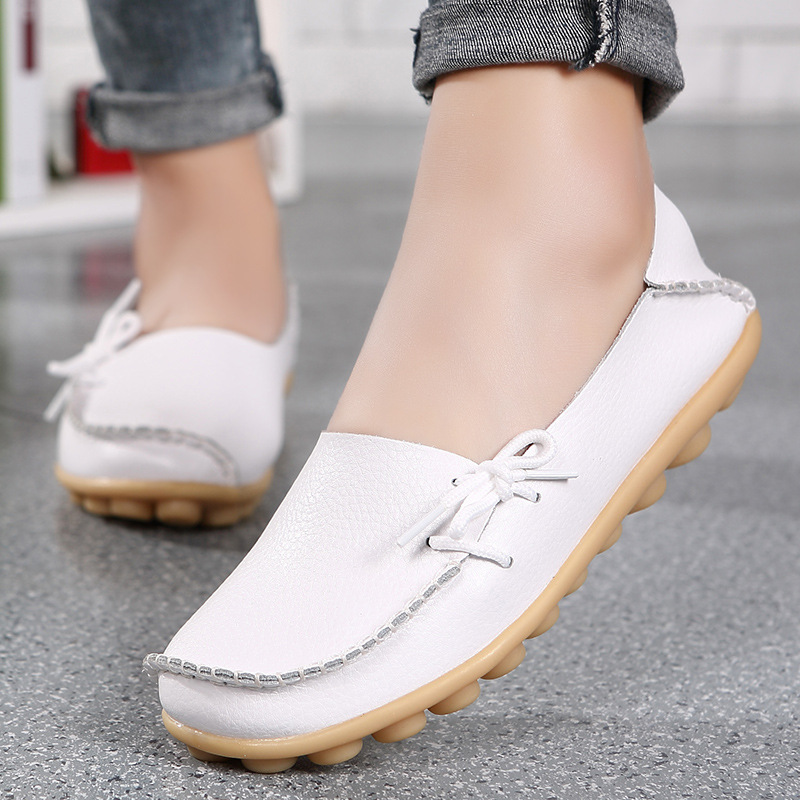 Women Real   Leather   Shoes Moccasins Mother Loafers Soft Leisure Flats Female Driving Ballet Footwear size 34-44