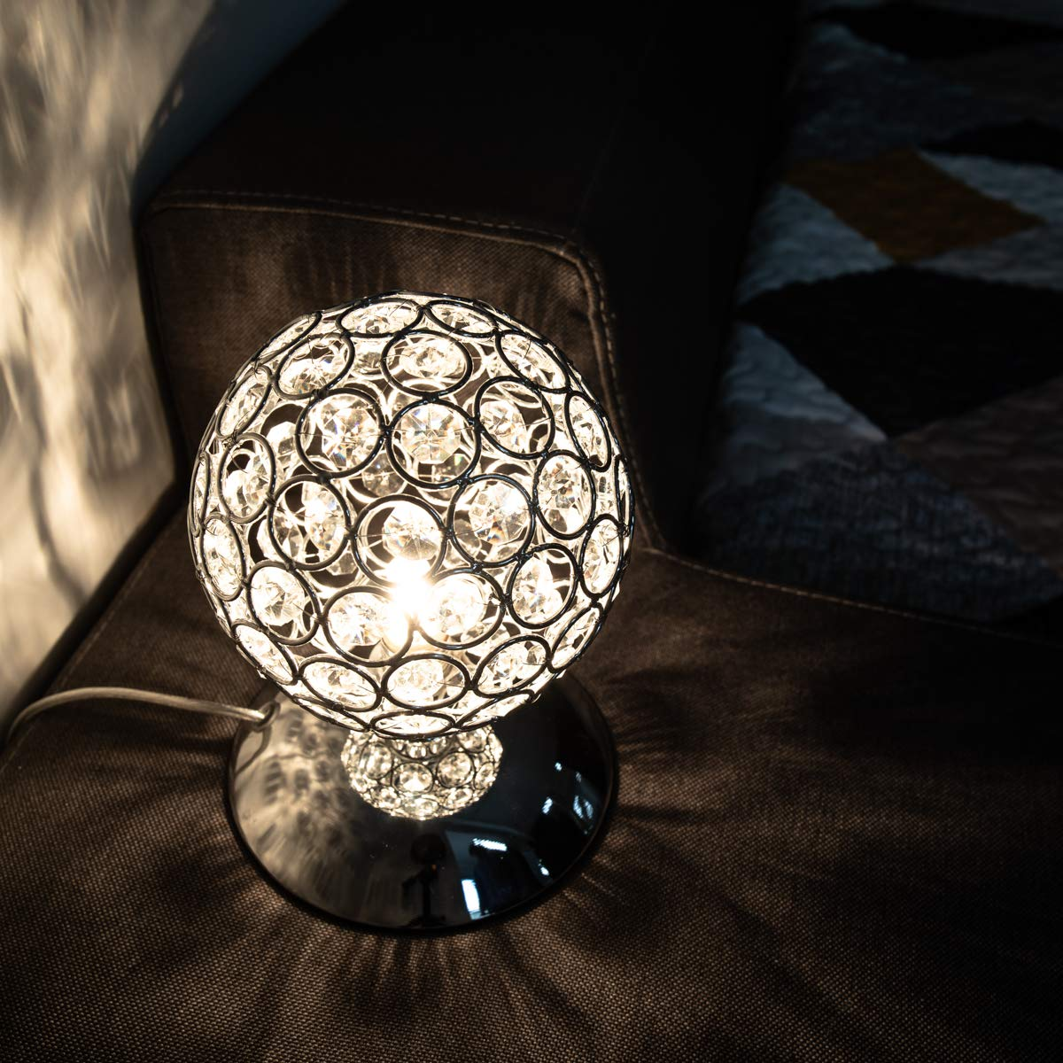 K5 Modern Crystal Table Lamp Night Light Touch Dimmable Led Table Lamp Touch Sensor Bedside Lamp Desktop Decoration with EU plug