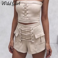 Sexy Lace Up Leather Suede Shorts Women High Waist Summer Shorts Female Pockets Streetwear Elastic Shorts