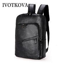 IVOTKOVA Designer Brand Fashion Bag Black Leather Mens Backpacks Preppy Style Men Backpack Bolsas Laptop Mochila
