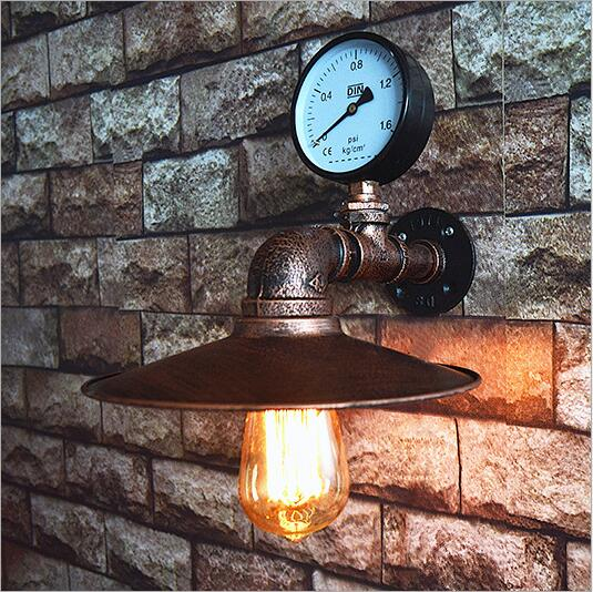 Antique LED Edison Water Pipe Wall Lamp Vintage For Home Lighting Dinning Room Loft Industrial Retro Wall Sconces Arandelas black color pipe retro loft vintage iron shade wall lamp sconces industrial home lighting fixture for living room free shipping