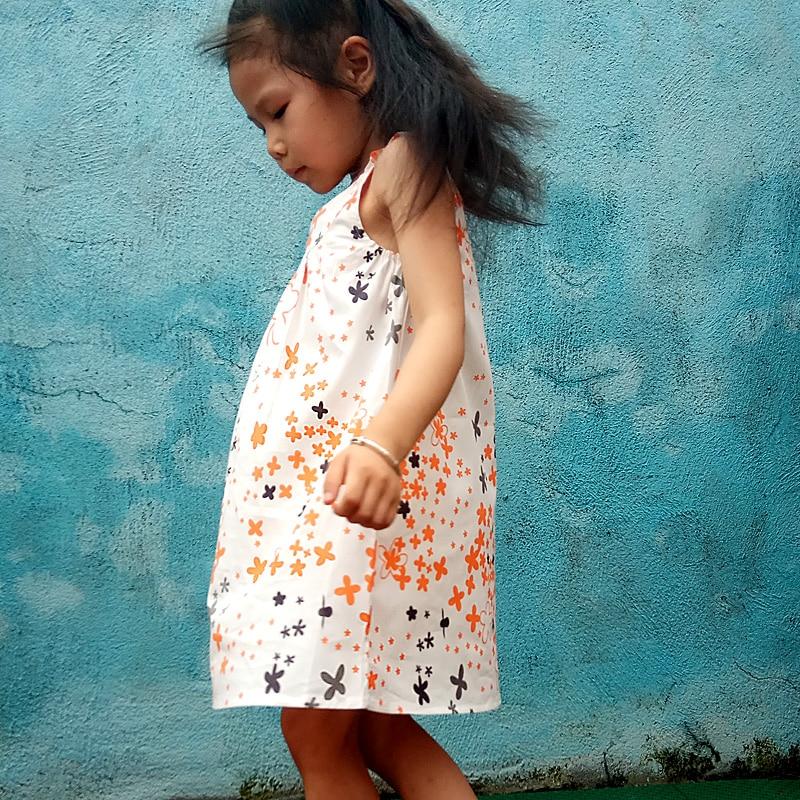 Children's Party Princess Dress Woven Cotton Girl Dresses Girls Summer Cute Cotton Flower Print Dress Girl Holiday Dresses