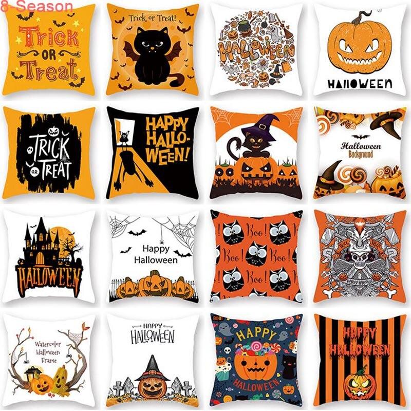 Decorative Throw Pillow Case Halloween Pumpkin Trick Or Treat Sofa Cushion Cover