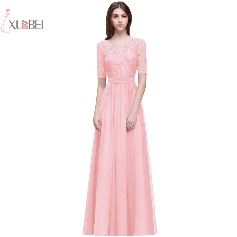 Stock Elegant Pink Chiffon Long Evening Dress 2019 Half Sleeve Lace Applique Evening Gown robe de soiree in Evening Dresses from Weddings Events