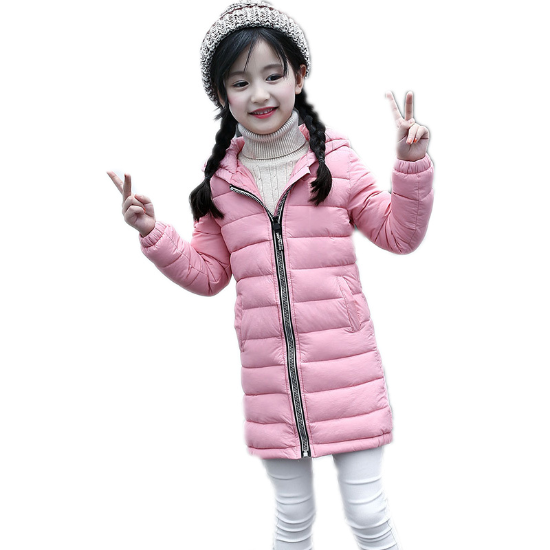 girl winter jacket 2017 new long section kids winter coats thicken warm cotton wadded jacket solid hooded children outwear 6-13T 2017 europe and the united states fashion color hooded long section of the windbreaker spring new cotton jacket girl red jacket
