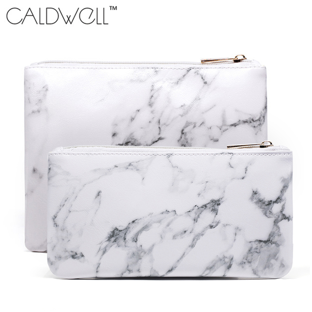 7750fa03c00c US $2.95 |CALDWELL New Fashion Marble Cosmetic Bag Zipper Storage Bag  Portable Ladies Travel Square PU Leather Makeup Brushes Bag-in Cosmetic  Bags & ...