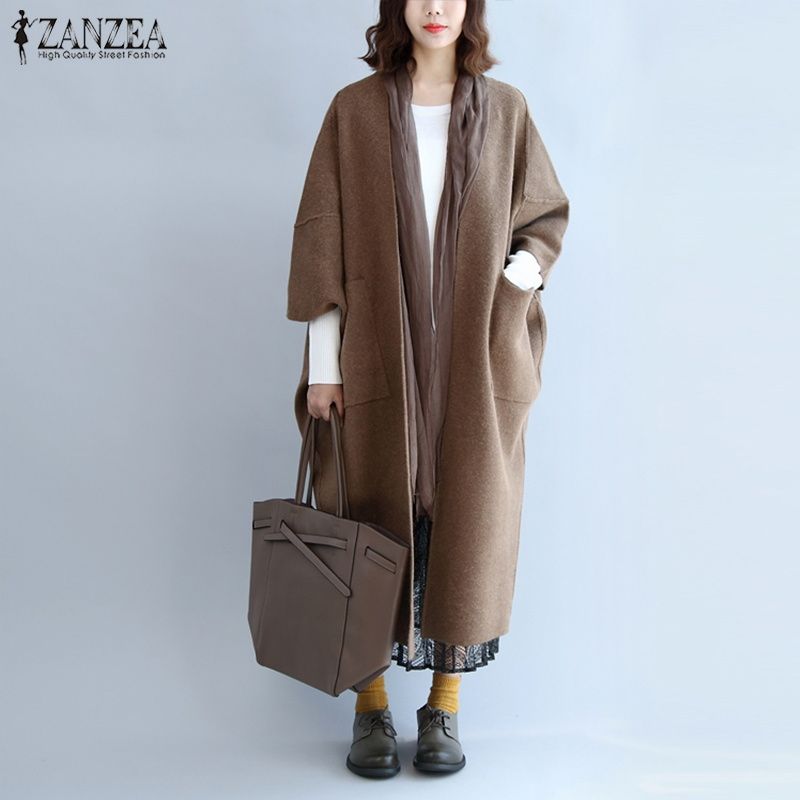 2018 Winter Plus Size Women Wool Coat Trench ZANZEA Maxi Long Coat Female Manteau Jacket Outwear Overcoat Long Wool Blends Coats