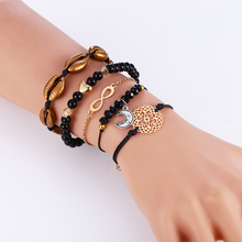 WNGMNGL 5Pcs/Set Vintage Multilayer Shell Bracelet Women Fashion & Nature Simple Crystal Moon Beads Female Bangles For lady Gift
