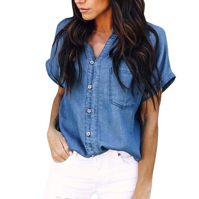 Модные женские летние блузки 2018 Горячая Мягкая джинсовая рубашка Топы Blue Jean Кнопка с коротким рукавом Блузка женская рубашка blusa feminina a20
