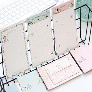 Image 5 - 30Packs/Lot Leuke Konijn Pinguïn Bloem 2 Envelop + 4 Papieren Brief Mini Brief Pad Schrijven Papier Kantoor & School Leveranties