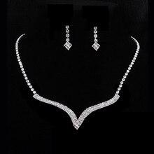 U119 New New Women Wedding Party Crystal Rhinestone Necklace Pendant Earrings Jewelry Set #Y51#