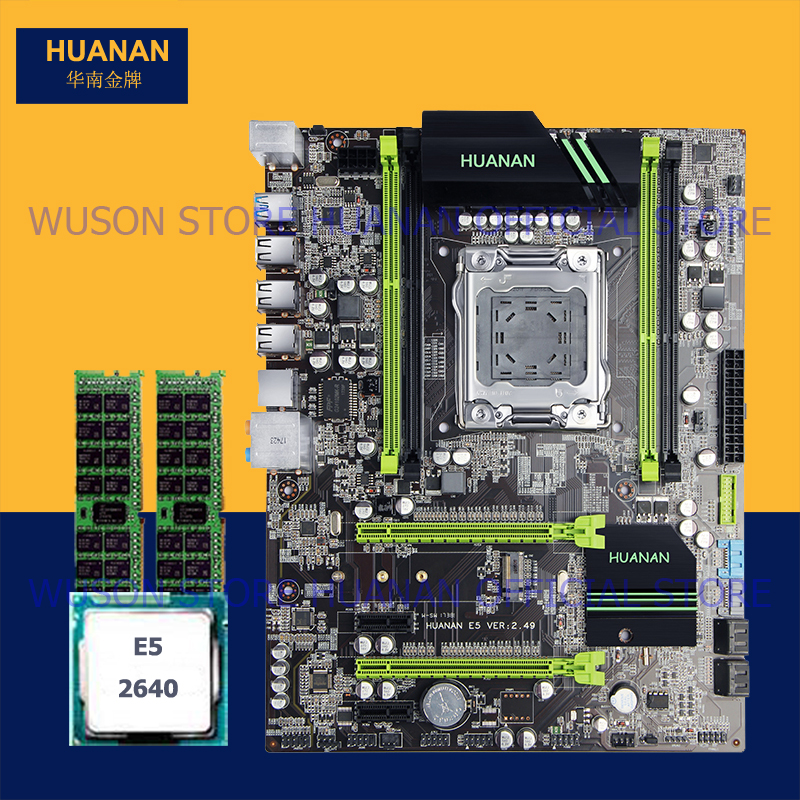 On sale motherboard bundle HUANAN ZHI X79 motherboard with SSD M.2 slot CPU Intel Xeon E5 2640 SROKR 2.5GHz RAM 8G(2*4G) RECC getworth s6 office desktop computer free keyboard and mouse intel i5 8500 180g ssd 8g ram 230w psu b360 motherboard win10