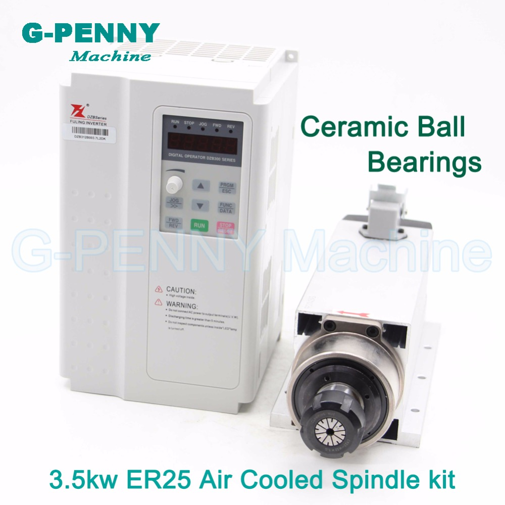 3.5kw ER25 Air Cooled Spindle CNC motor 4bearings ceramic ball bearings 220v / 380v & Fuling 3.7kw VFD / inverter High Quatity high quality ceramic bearings 3 5kw 380v air cooled spindle motor er20 and 4kw vfd inverter