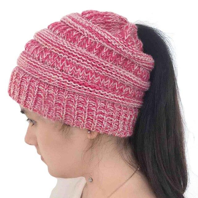 a9fd83da5af4c Drop Shipping 2018 Ponytail Beanies Winter Hats For Women Warm Knit ...