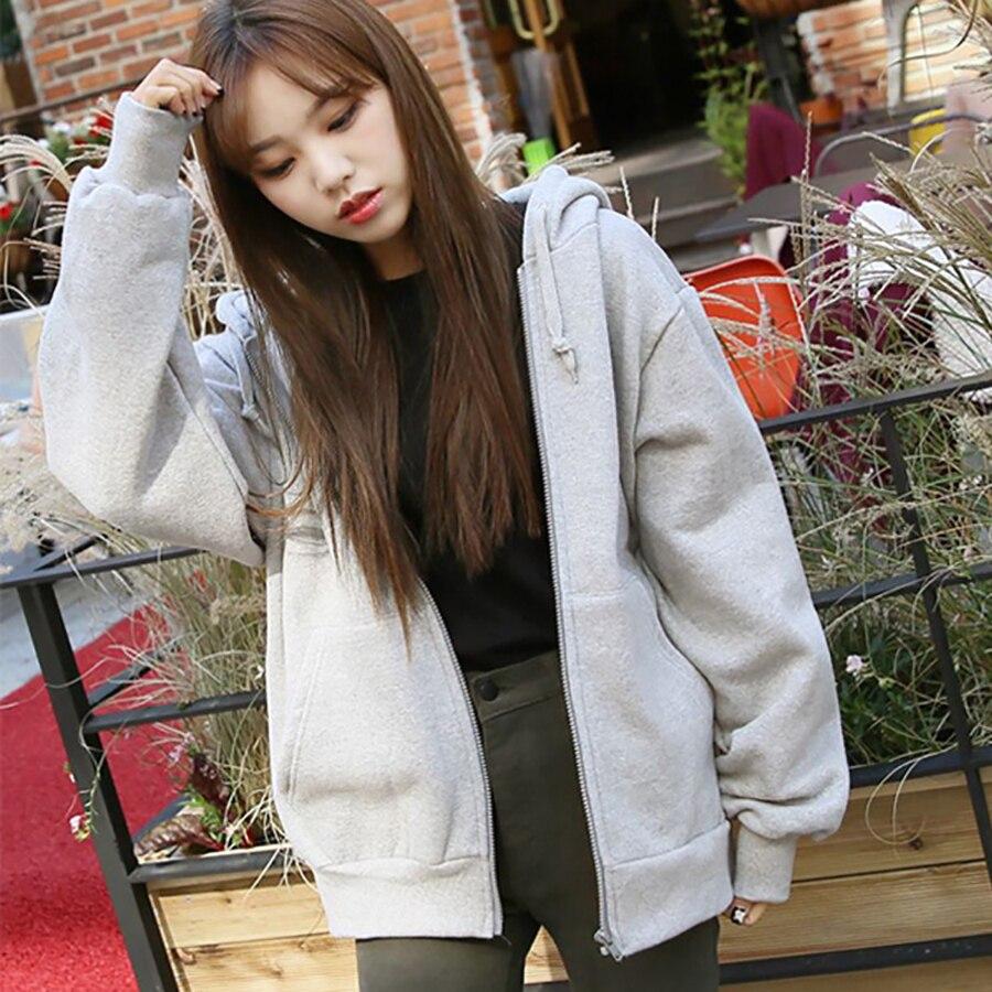 Spring Fashion Hooded Outwear Hoodies Women Casual Tie Collar Long Sleeve Zip-up Sweatshirts Loose Ladies Streetwear Tops Winter